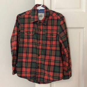 Mini Boden Plaid Flannel Button Down 4-5 Y